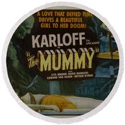 The Mummy 1929 Poster Boris Karloff Round Beach Towel