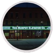 Round Beach Towel featuring the photograph The Murphy Elevator Company by Randy Scherkenbach