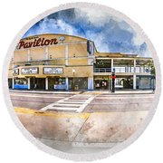 The Myrtle Beach Pavilion - Watercolor Round Beach Towel