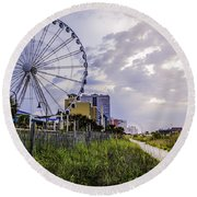 The Myrtle Beach, South Carolina Skywheel At Sunrise. Round Beach Towel