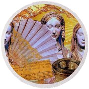 Round Beach Towel featuring the mixed media The Mystery by Gail Kirtz