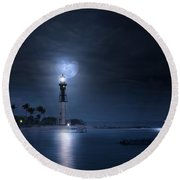 The Mystery Of Lighthouse Cove Round Beach Towel