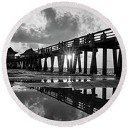 Naples Pier At Sunset Naples Florida Black And White Round Beach Towel