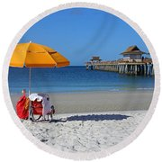 The Naples Pier Round Beach Towel