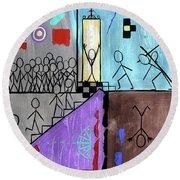 The Narrow Door Matthew 7-13-14 Round Beach Towel