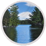The Narrows Of Muskoka Round Beach Towel
