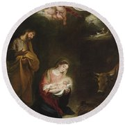 The Nativity With The Annunciation To The Shepherds Beyond Round Beach Towel