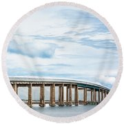 Round Beach Towel featuring the photograph The Navarre Bridge by Shelby Young