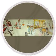 the Netherlands scroll Round Beach Towel by Debbi Saccomanno Chan