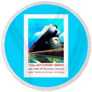 The New 20th Century Limited New York Central System 1939 Leslie Ragan Round Beach Towel