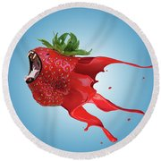 Round Beach Towel featuring the photograph The New Gmo Strawberry by Juli Scalzi
