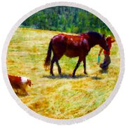 The New Mare And The Perfect Summer Day Round Beach Towel by Anastasia Savage Ealy