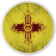 Round Beach Towel featuring the digital art The New Mexico Flag by JC Findley