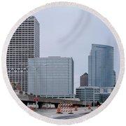 The New Milwaukee Skyline Round Beach Towel by Randy Scherkenbach