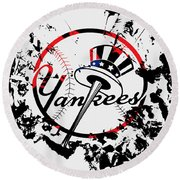 The New York Yankees 1b Round Beach Towel by Brian Reaves
