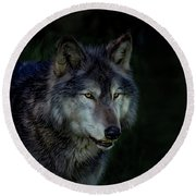The Night Belongs To The Wolf Round Beach Towel
