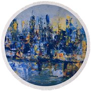 The Night City Round Beach Towel