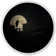 Round Beach Towel featuring the photograph The Night Of The Heron by Chris Lord