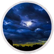 Round Beach Towel featuring the photograph The Night Of The Storm by Mark Blauhoefer