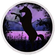 The Night Of The Unicorn Round Beach Towel