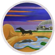 The Night Race Round Beach Towel