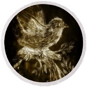 The Night Sparrow Round Beach Towel by Maria Urso