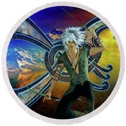Round Beach Towel featuring the digital art The Norseman by Shadowlea Is