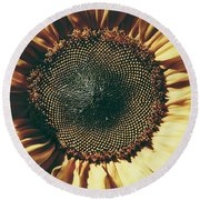 The Not So Sunny Sunflower Round Beach Towel by Karen Stahlros