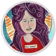 The Not Today Fairy- Art By Linda Woods Round Beach Towel