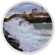 Round Beach Towel featuring the photograph The Nubble After A Storm by Rick Berk