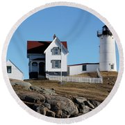 The Nubble Light House  Round Beach Towel