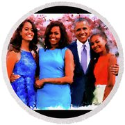The Obama Family Round Beach Towel