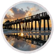 Naples Pier At Sunset Naples Florida Ripples Round Beach Towel