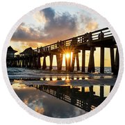 Naples Pier At Sunset Naples Florida Round Beach Towel