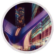 Round Beach Towel featuring the photograph The Occulus At Midnight by Chris Lord