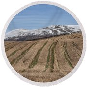 The Ochil Hills In Clackmannanshire Round Beach Towel