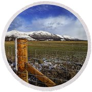 Round Beach Towel featuring the photograph The Ochils In Winter by Jeremy Lavender Photography