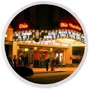 The Ohio Theater At Night Round Beach Towel