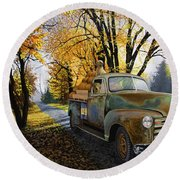 The Ol' Pumpkin Hauler Round Beach Towel
