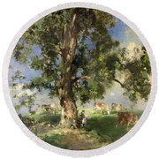 The Old Ash Tree Round Beach Towel