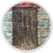 Round Beach Towel featuring the painting The Old Barn Door by Lucia Grilletto