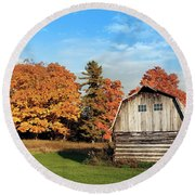 Round Beach Towel featuring the photograph The Old Barn In Autumn by Heidi Hermes