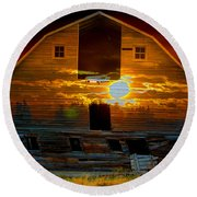 The Old Barn Round Beach Towel by Stuart Turnbull