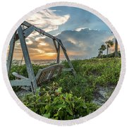 The Old Beach Swing -  Sullivan's Island, Sc Round Beach Towel