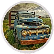 The Blue Classic 48 To 52 Ford Truck Round Beach Towel
