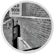 Round Beach Towel featuring the photograph The Old Book Store by Karol Livote