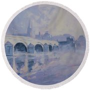 Round Beach Towel featuring the painting The Old Bridge Of Maastricht In Morning Fog by Nop Briex