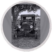 Round Beach Towel featuring the digital art The Old Car by Bonnie Willis