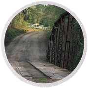 Round Beach Towel featuring the photograph The Old Country Bridge by Kim Henderson