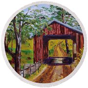 The Old Covered Bridge Round Beach Towel